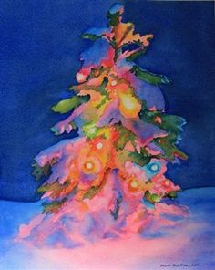 "A glowing Christmas tree at night painted with transparent watercolors. Related Posts:Evening Splendor""Christmas Choir Sings, Fa la la la la la la la la"" . Water colorBrightest BlessingsFinding the Perfect TreeWhite Pastures"