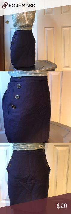 "Navy LOFT skirt with pockets and oversized buttons Adorable skirt! 30"" waist. Length 20"". GUC. Fully lined.  Shirt is also for sale in my closet   Box A. LOFT Skirts Midi"