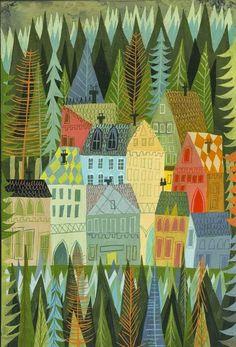 Matte Stephens: A sleepy village in Norway #city #forest #illustration
