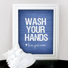 Black background Wash Your Hands Love Mom  Funny Humor Art by spoiledroyalstudio, $15.00