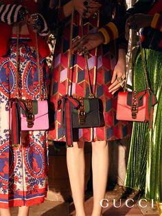 Color-rich dresses from Gucci Pre-Fall 2016 and the Gucci Sylvie bag, decorated with the House Web stripe and gold hardware.