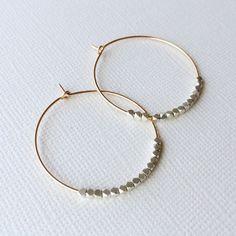 Beaded Gold Hoop Earrings  Minimal Mixed Metal by marigoldmary