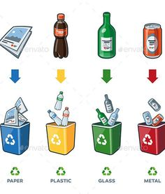 Recycling Bins for Paper Plastic Glass Metal Trash by petov | GraphicRiver Recycling Games, Recycling Programs, Recycling Bins, Plastic Recycling, Recycling Logo, Earth Day Projects, Earth Day Crafts, Earth Day Activities, Activities For Kids