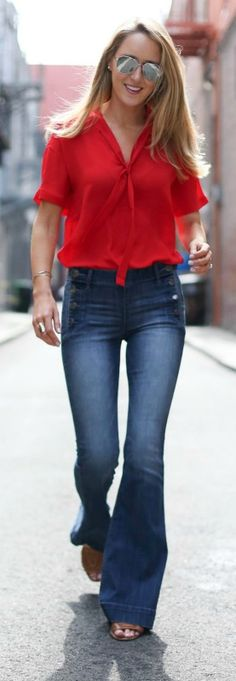 flare leg jeans with button detail, red blouse + mirrored sunglasses {express   @expresslife}