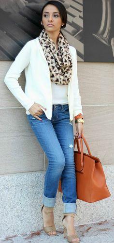 White tee + white jacket + blue jeans + tan pumps + animal scarf.