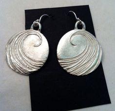 Beach Girl Silver Wave Earrings