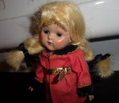 SWEET  Blond Hair Blue Sleep Eyes VINTAGE  VOGUE Strung GINNY DOLL w/ OUTFIT  #Dolls