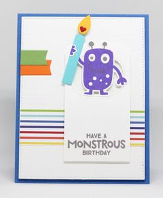 Monster Love Stamp Set and Die-namics, Happy Birthday Background, Birthday Candles Die-namics, Stitched Triple Peek-a-Boo Window Die-namics - Jody Morrow  #mftstamps