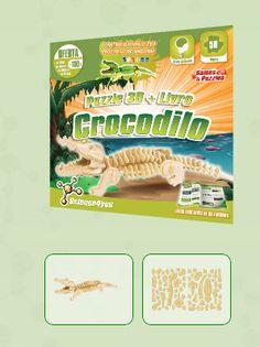 PUZZLE 3D + LIVRO CROCODILO  Descobre: A diversidade de animais que podes encontrar no nosso planeta - O que são répteis e a variedade de espécies que existem - Características e curiosidades sobre os crocodilos - Como construir um fantástico puzzle 3D de um crocodilo