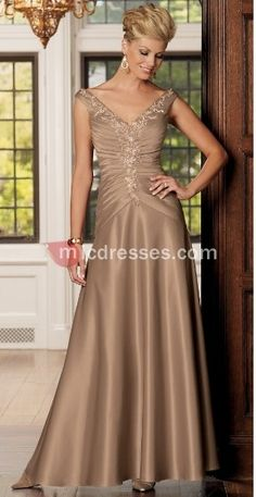 Long v-neck gold satin capped pleated embroidery A-line Mother Of The Bride Dress MBD257127 - Micdresses.com