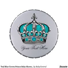 Teal Blue Crown Prince Baby Shower Candy Candy Tin