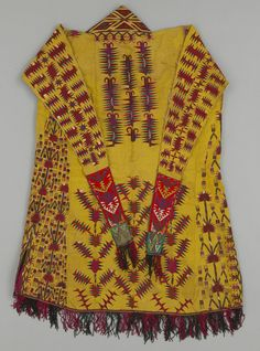 Veiling Garment from the Tekke Turkoman people of Central Asia, ca. 1860-1890, silk, cotton, wool. Worn as a veiling garment, hanging from the head and covering the upper body.
