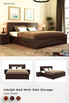 Adolph bed with side storage is a beautifully detailed contemporary furniture design. The headboard and footboard of the bed are detailed with slots which are much noticeable. This bed also assists sufficient storage beneath. Explore More at Woodenstreet.  #luxurylifestyle #vocalforlocal #dreambed #interiordesigner #bedroomstyling #bedroom #bedroomdesign #bedrooms Girl Bedroom Designs, Girls Bedroom, Bedrooms, Bed Designs With Storage, Wooden Street, Tv Wall Decor, African Home Decor, Dreams Beds, Headboard And Footboard