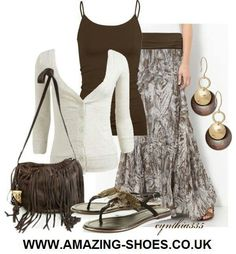 Great black and white lobg skirt outfit
