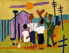 Off to War, ca. 1942-1944, William H. Johnson, oil on plywood, 25 1/8 x 32 5/8 in. (63.9 x 83.0 cm), Smithsonian American Art Museum, Gift of the Harmon Foundation