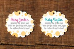 Baby is coming the time is near. When you get the big news open the Bottle & send a Cheer! Tags, Champagne, Baby Showers, Sprinkle, Mommy by CaffeinatedSquirrel on Etsy Baby Shower Tags, Baby Shower Favors, Baby Showers, Open When, Wine Bottle Labels, Big News, Twinkle Twinkle, Baby Names, Sprinkles