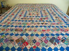RARE Vintage 1940's Postage Stamp Quilt Pristine Condition Hand Tied So Gorgeous | eBay