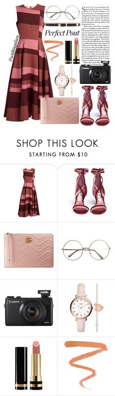 """""""Peach Lipstick"""" by withingalaxy ❤ liked on Polyvore featuring beauty, Roksanda, Jimmy Choo, Gucci, FOSSIL, Ellis Faas and Elie Saab"""