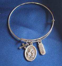 St Joseph Wire Bangle Saint Medal Charm Bracelet by faithsymbol