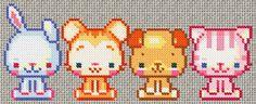 Free Cute Kawaii Animals Cross Stitch Chart or Hama Perler Bead Pattern