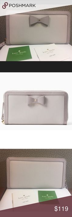 """NWT Kate Spade Hazel Court Lacey NWT Kate Spade Hazel Court Lacey  Color: Nouveau Neutral / Light Shale  Material: Saffiano Leather Wallet   Style#: PWRU4477  Details: saffiano leather with matching trim, zip around continental wallet, gold-tone hardware,  12 credit card slots, 2 billfold compartments and one middle zippered pocket, jacquard with dot printed lining, bow and logo details Approximate measurements: 7.6""""(L)/ 4""""(H)/ 0.8""""(W) RETAIL PRICE: $198.00 kate spade Bags Wallets"""