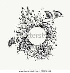 for poncho: Floral hand drawn zentangle - vector illustration - stock vector