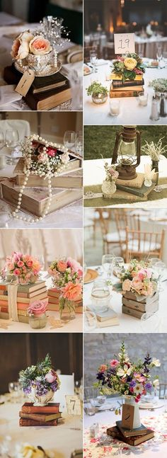vintage books inspired wedding centerpiece decoration ideas