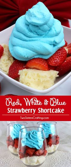 Wow your family and party guests with our Red White and Blue Strawberry Shortcake - a fun and patriotic twist on a classic summer dessert. It would be a great of July dessert a Memorial Day or Labor Day BBQ treat or even an Olympics viewing party snack. 4th Of July Desserts, Fourth Of July Food, 4th Of July Party, Mini Desserts, Holiday Desserts, Holiday Treats, Just Desserts, Holiday Recipes, Dessert Recipes