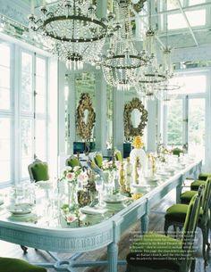 beaded chandeliers + green velvet