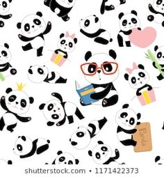 Traditional asian cute china baby bears vector seamless illustrations with animals characters. Bear Vector, Asian Cute, New Pictures, Royalty Free Photos, China, Traditional, Black And White, Artist, Pattern