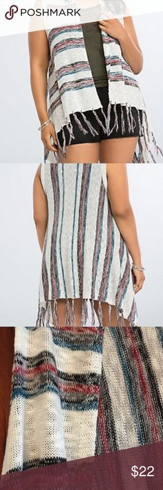 NWT torrid size 4 knit striped fringe vest NWT torrid size 4 knit striped fringe vest . Great fall colors decorate this striped lightweight soft knit vest with fringe. Perfect boho babe piece! torrid Jackets & Coats Vests