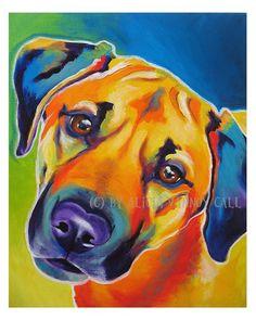 Colorful Pet Portrait Boston Terrier Dog Art Print by dawgpainter