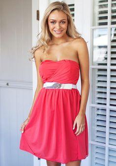 Coral Bodice Dress Sin cinturón