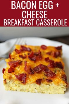 Bacon Egg and Cheese Casserole An easy breakfast casserole recipe Green Chili Bacon Cheese Egg Breakfast Souffle Bacon Egg And Cheese Casserole, Bacon Casserole Recipes, Bacon Egg Bake, Easy Breakfast Casserole Recipes, Breakfast Dishes, Easy Egg Breakfast, Breakfast Crockpot, Bacon And Egg Casserole, Breakfast Items