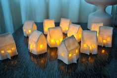 Set of 3 Mini Felt House Luminaries by hunkydorky on Etsy, $18.00