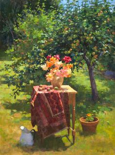 Jim McVicker, 24x18 Garden Painting, Garden Art, Impressionist Paintings, Landscape Paintings, Rainbow Art, Painting Inspiration, Apples, Photo Art, Buffet