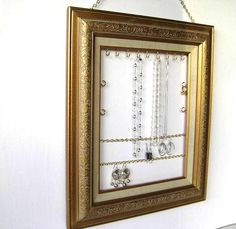 Framed Jewelry Organizer & Display for Earrings, Necklaces, Bracelets.     Buy or DIY