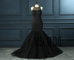 Black Mermaid Wedding Dress Beading Prom Dress door rosabridal