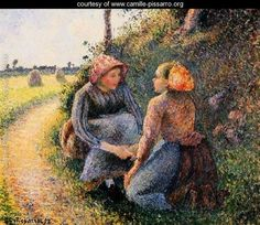 Seated and Kneeling Peasants - Camille Pissarro - www.camille-pissarro.org
