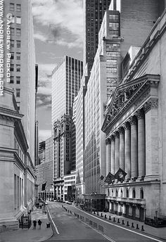 Photos of Wall Street - Fine Art Prints, High-Res Stock Images - View of the New York Stock Exchange from Wall Street I (Black and White)