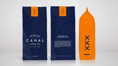 Amsterdam Coffee - Created by agency JAMJAM, this packaging for Canal Coffee Co uses symbols and colors associated with the Amsterdam coffee brand's home city t. Cool Packaging, Food Packaging Design, Beverage Packaging, Coffee Packaging, Packaging Design Inspiration, Brand Packaging, Brand Inspiration, Branding Design, Food Branding