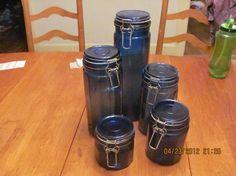 vintage colbalt blue set jar/canister glass