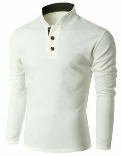 Doublju Men's Long Sleeve China Collar Henley Neck T-shirt Casual Outfits, Men Casual, Fashion Outfits, Gentleman Style, Mens Suits, Shirt Style, Men Dress, Shirt Designs, Menswear
