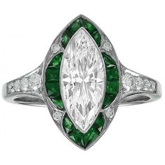 Engagement Ring -Green Tourmaline & Diamond Marquise Cut Halo Art Deco... (4,315 CAD) ❤ liked on Polyvore featuring jewelry, rings, marquise cut engagement rings, art deco engagement rings, round engagement rings, antique rings and antique engagement rings