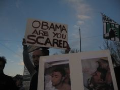 """Obama are you scared"" (Photo: Eli Bell)"