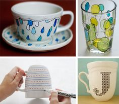 Once you've got a set of Pebeo paint pens made for glass or porcelain, the possibilities are endless (and pretty fast).