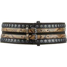 Belstaff Hope Wide Belt ($679) ❤ liked on Polyvore featuring accessories, belts, multi, snakeskin belt, snake skin belt, stripe belt, leather buckle belt and wide buckle belt