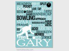 Bowling Typography Art Print Perfect Boy's Room by twenty3stars, $10.00