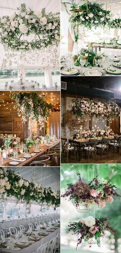 wedding decoration ideas with hanging flowers Hanging Flowers Wedding, Hanging Wedding Decorations, Flower Decorations, Wedding Costs, Wedding Venues, Dream Wedding, Wedding Ideas, Wedding Table, Rustic Wedding