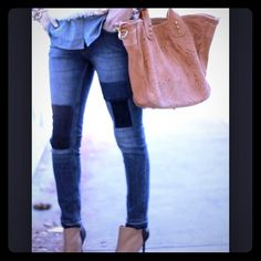 Patched Jeans, Bell Bottoms, Bell Bottom Jeans, Skinny Jeans, Crafty, Pants, Fashion, Trouser Pants, Moda